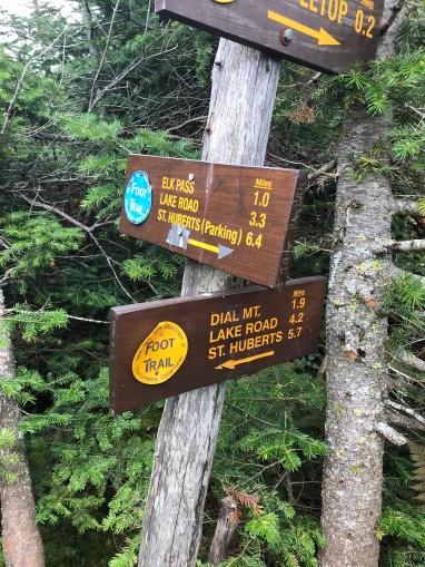 Sign to Elk Pass & St. Huberts parking