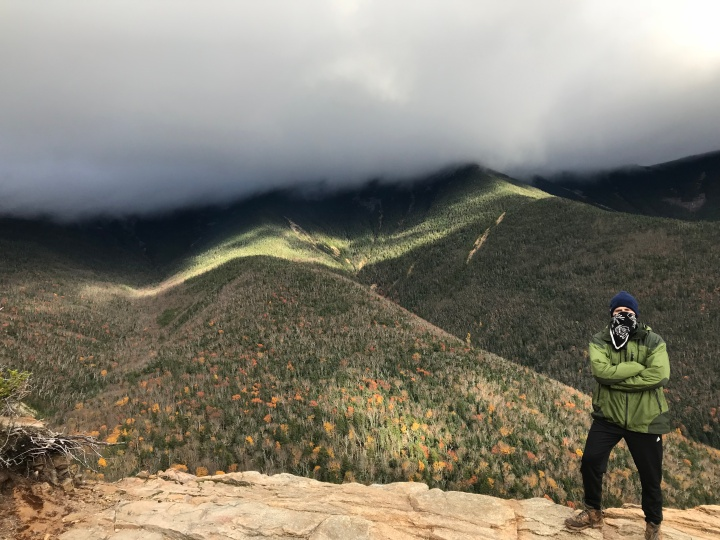 Franconia Ridge covered in clouds behind me