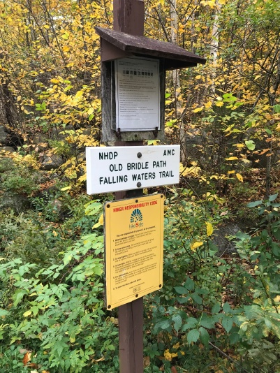 Old bridle path, falling waters trail sign