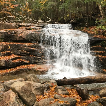 Wide waterfall on trail