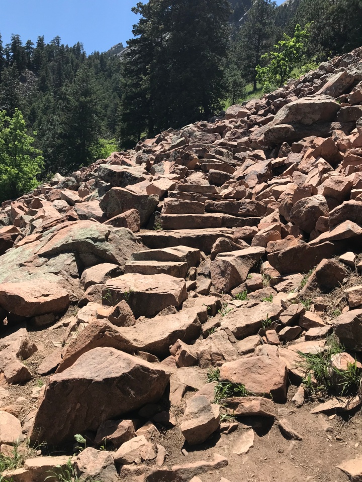 Rock steps on the Flatiron trail