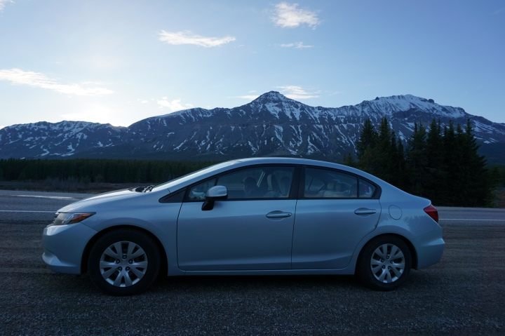 Honda and mountains in Glacier