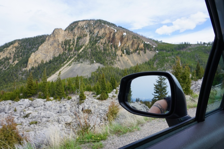 Cliffs, car mirror, my arm Yellowstone