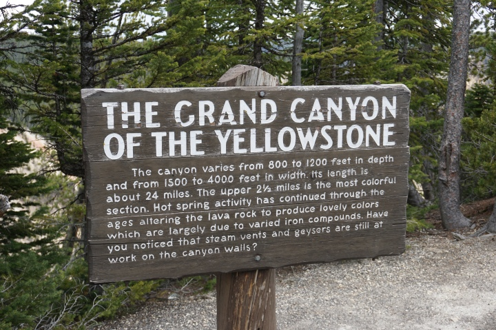 Grand Canyon of Yellowstone Sign