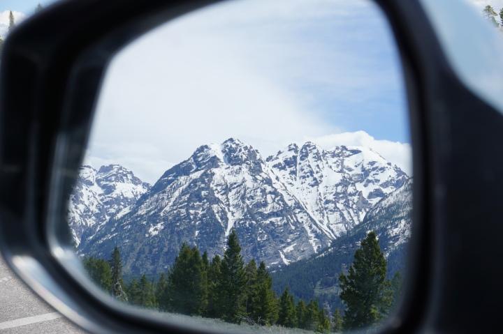 Tetons in my Car Mirror