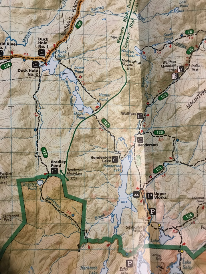Upper Pond Trail on ADK Map