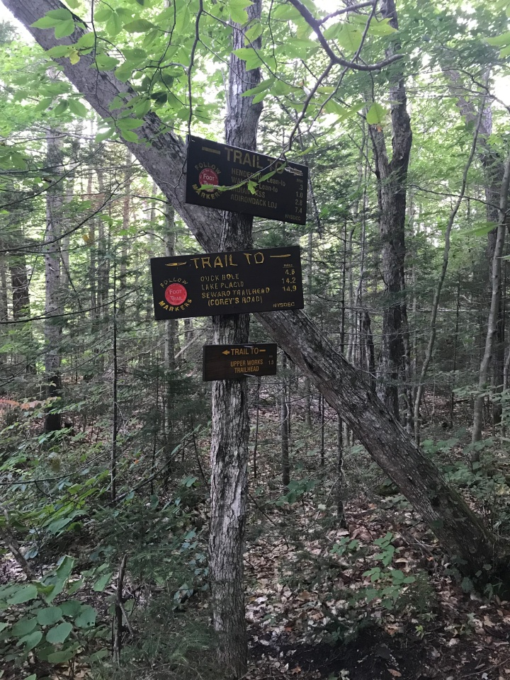 Upper Pond Trail sign (three signs)