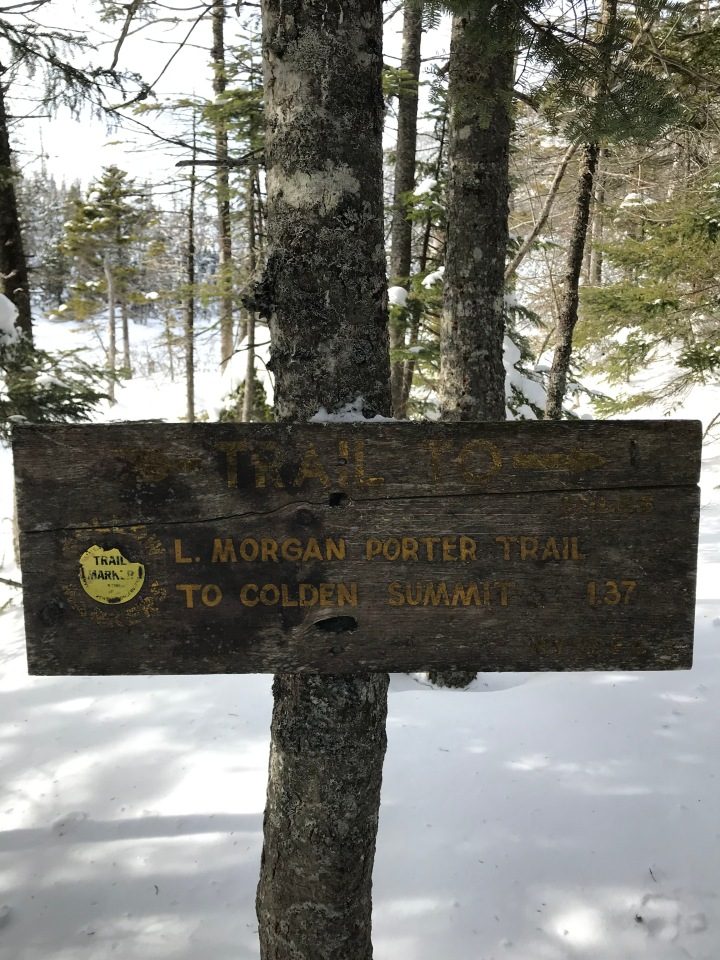 Sign: Morgan Porter trail to colden summit
